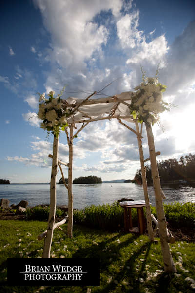 birch wood wedding arch